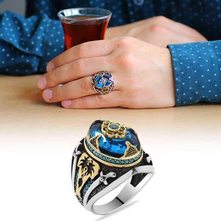 Kılıç Temalı Faset Kesim Aqua Mavi Zirkon Taşlı 925 Ayar Gümüş Erkek Yüzük - Thumbnail