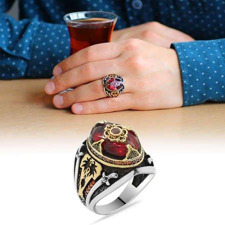 Kılıç Temalı Faset Kesim Kırmızı Zirkon Taşlı 925 Ayar Gümüş Erkek Yüzük - Thumbnail