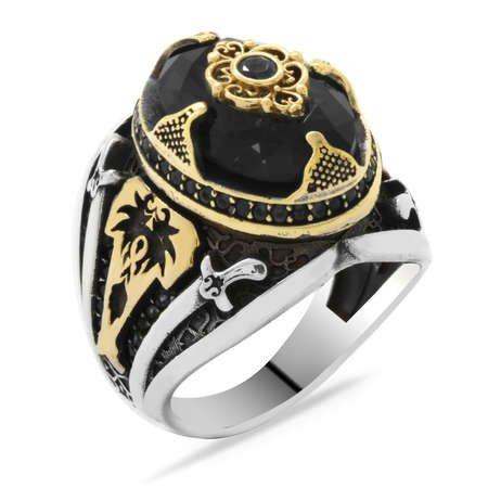 Kılıç Temalı Faset Kesim Siyah Zirkon Taşlı 925 Ayar Gümüş Erkek Yüzük - Thumbnail
