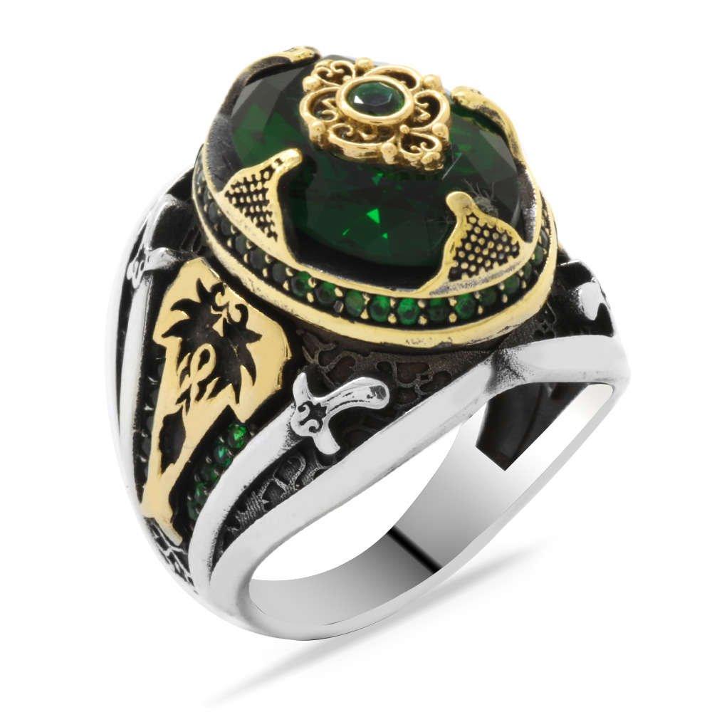 Kılıç Temalı Faset Kesim Yeşil Zirkon Taşlı 925 Ayar Gümüş Erkek Yüzük