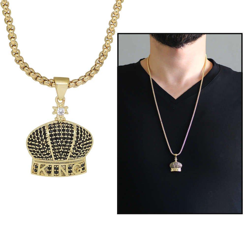 King Tasarım Siyah Zirkon Taşlı Gold Renk Zincir Pirinç Kolye