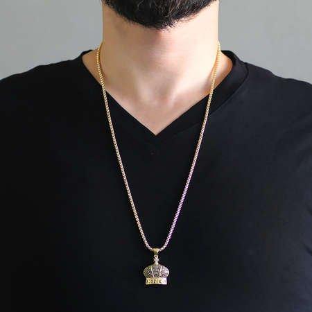 King Tasarım Siyah Zirkon Taşlı Gold Renk Zincir Pirinç Kolye - Thumbnail