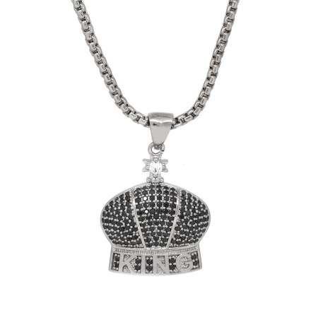 King Tasarım Siyah Zirkon Taşlı Gümüş Renk Zincir Pirinç Kolye - Thumbnail
