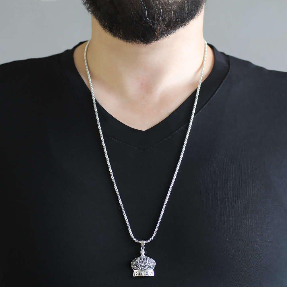 King Tasarım Siyah Zirkon Taşlı Gümüş Renk Zincir Pirinç Kolye