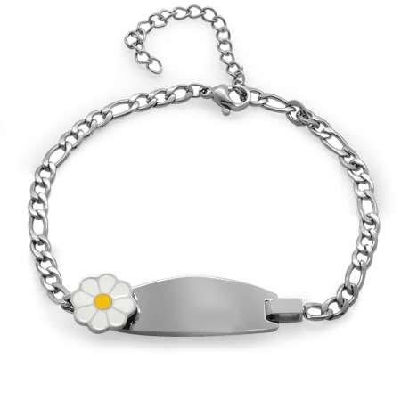 Papatya Detaylı Silver Renk Kişiye Özel İsim Yazılı Çelik Kadın Bileklik - Thumbnail