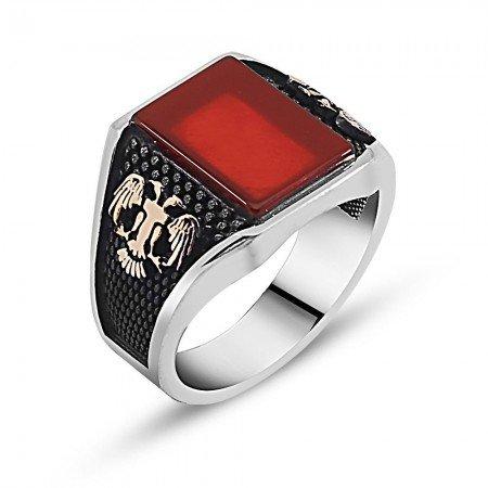 Kırmızı Akik Taşlı Gümüş Yüzük - Thumbnail