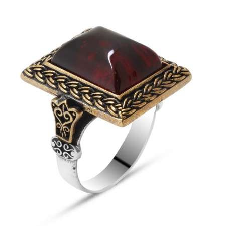 Kırmızı Ateş Kehribar Taşlı Dörtgen Tasarım 925 Ayar Gümüş Erkek Yüzük - Thumbnail