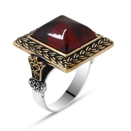 Kırmızı Ateş Kehribar Taşlı Kare Tasarım 925 Ayar Gümüş Erkek Yüzük - Thumbnail
