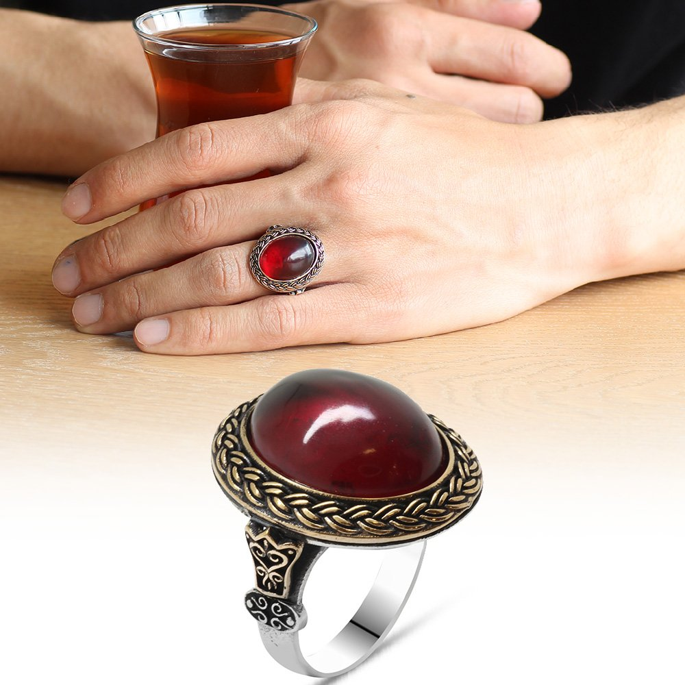 Kırmızı Ateş Kehribar Taşlı Oval Tasarım 925 Ayar Gümüş Erkek Yüzük