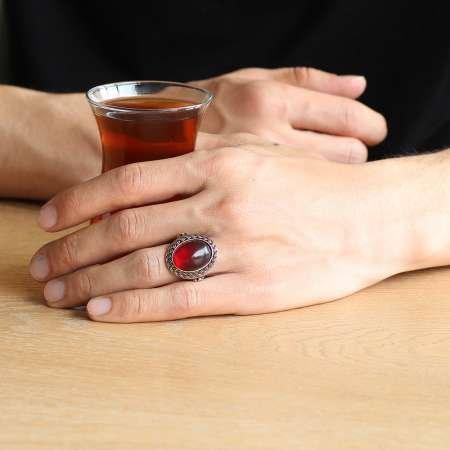 Kırmızı Ateş Kehribar Taşlı Oval Tasarım 925 Ayar Gümüş Erkek Yüzük - Thumbnail