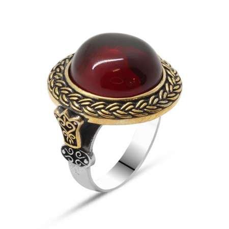 Kırmızı Ateş Kehribar Taşlı Yuvarlak Tasarım 925 Ayar Gümüş Erkek Yüzük - Thumbnail
