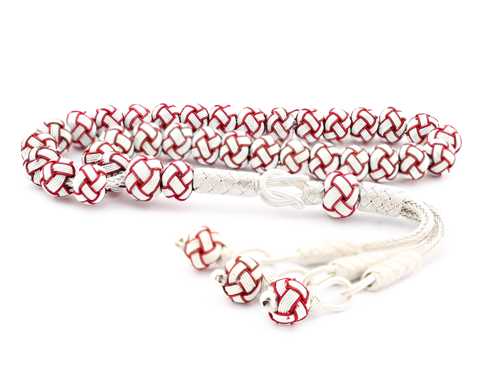 Kırmızı Beyaz Kazaz El Örmesi Bilek Boy Gümüş Tesbih
