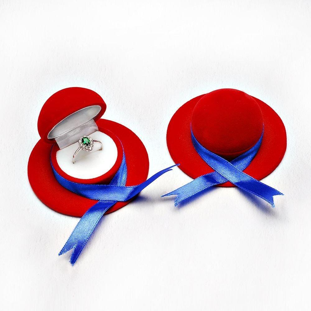 Kırmızı Kadife Fiyonklü Şapka Model Yüzük Kutusu