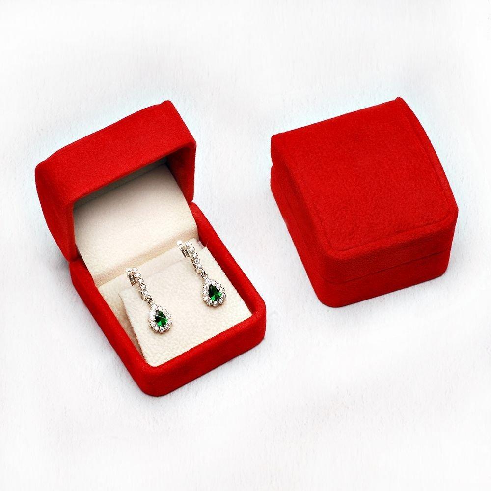 Kırmızı Kadife Küpe Kolye Kutusu (model 2)