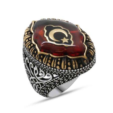 Kırmızı Kehribar İçine Ayyıldız İşlemeli 925 Ayar Gümüş Erkek Yüzük - Thumbnail