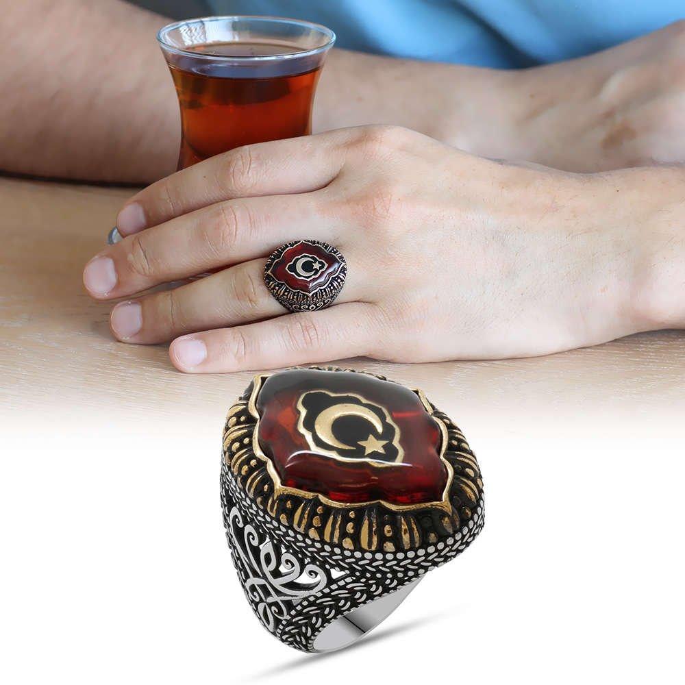Kırmızı Kehribar İçine Ayyıldız İşlemeli 925 Ayar Gümüş Erkek Yüzük