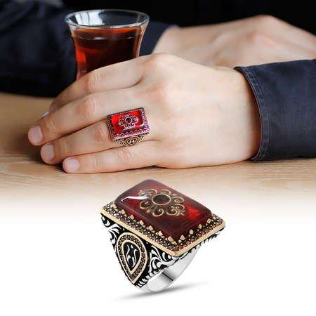 Kırmızı Kehribar İçine Kilim Deseni İşlemeli Lale Detaylı 925 Ayar Gümüş Erkek Yüzük - Thumbnail
