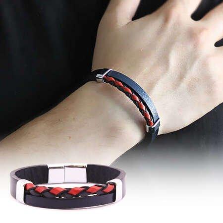 Hasır Tasarım Kırmızı-Lacivert Çelik-Deri Kombinli Erkek Bileklik - Thumbnail
