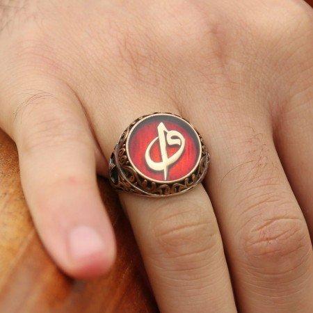 Kırmızı Mine Üzerine Elif Vav Harfli 925 Ayar Gümüş Tuğralı Yüzük - Thumbnail