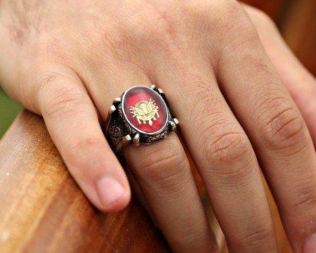 Kırmızı Mine Üzerine Osmanlı Tuğralı 925 Ayar Gümüş Oval Yüzük - Thumbnail