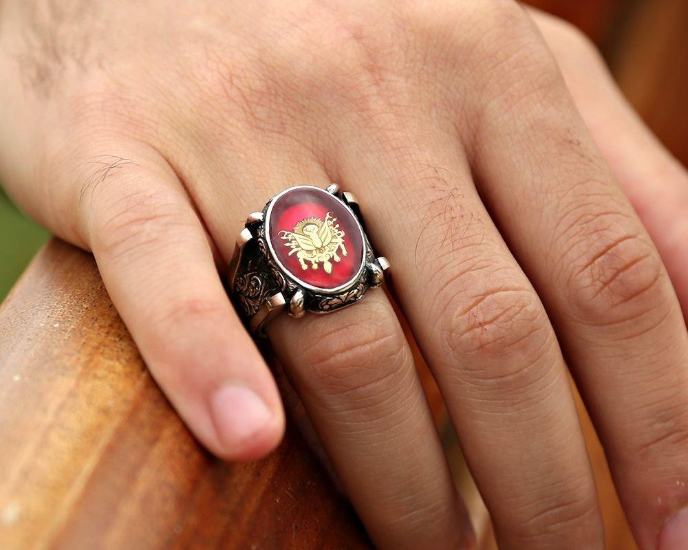 Kırmızı Mine Üzerine Osmanlı Tuğralı 925 Ayar Gümüş Oval Yüzük