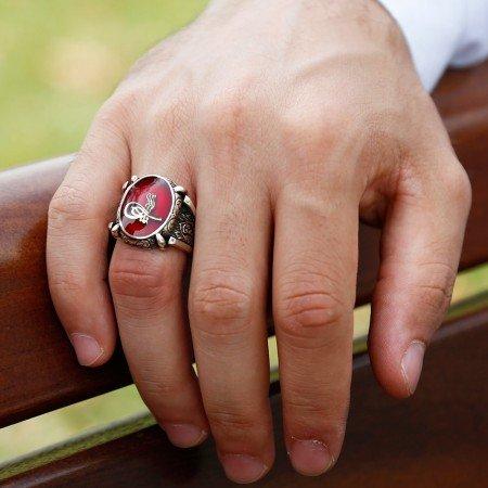 kırmızı Mine Üzerine Tuğralı 925 Ayar Gümüş Oval Yüzük - Thumbnail
