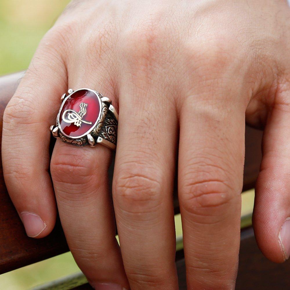 kırmızı Mine Üzerine Tuğralı 925 Ayar Gümüş Oval Yüzük