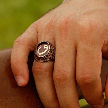 Kırmızı Mine Üzerine Vav Harfli 925 Ayar Gümüş Yüzük - Thumbnail