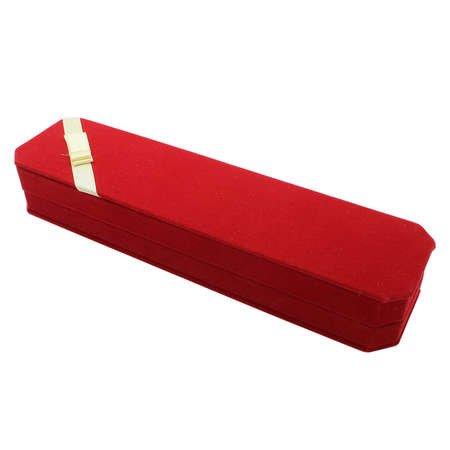 Kırmızı Renk Fiyonklu Kadife Tesbih Kutusu - Thumbnail