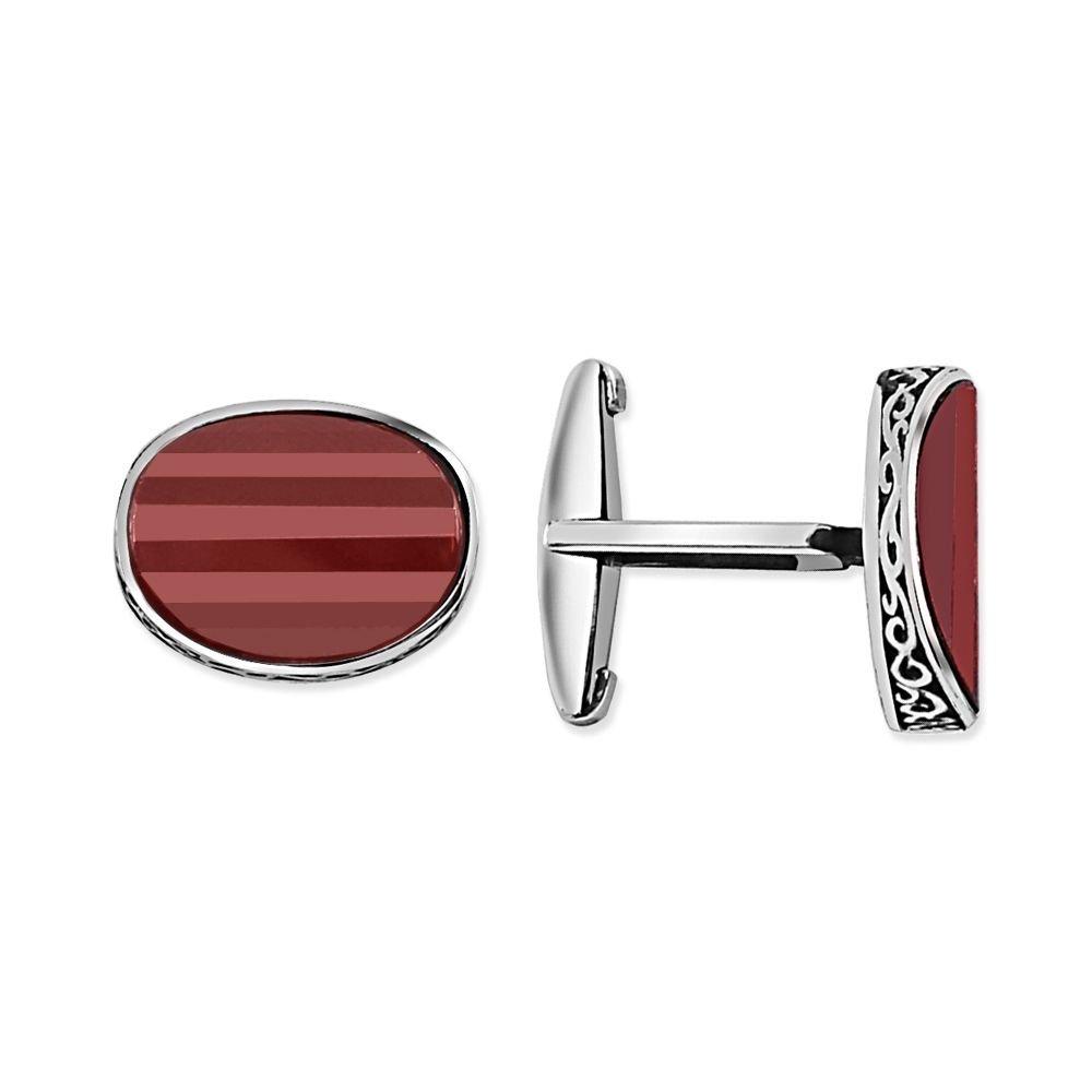 Kırmızı Taşlı Kol Gümüş Düğmesi (model-2)