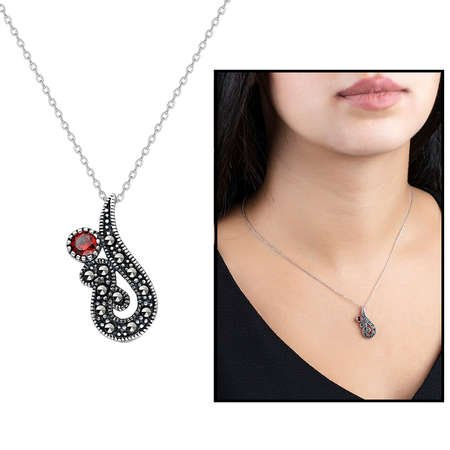 Kırmızı Zirkon-Marcazit Taşlı 925 Ayar Gümüş Kolye - Thumbnail