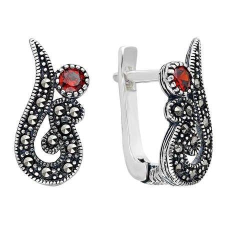Kırmızı Zirkon-Marcazit Taşlı 925 Ayar Gümüş Küpe - Thumbnail