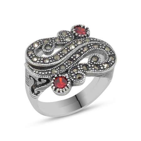 Kırmızı Zirkon Taşlı 925 Ayar Gümüş Bayan Yüzük - Thumbnail