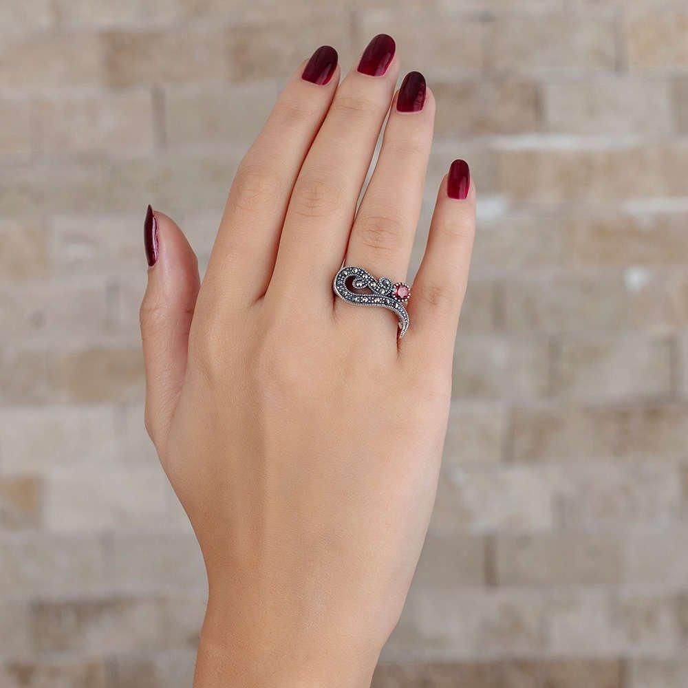 Kırmızı Zirkon Taşlı 925 Ayar Gümüş Bayan Yüzük