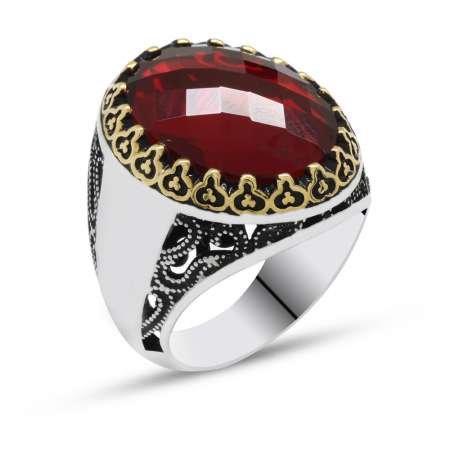 Kırmızı Zirkon Taşlı 925 Ayar Gümüş Erkek Yüzük(Yanlara isim yazılabilir) - Thumbnail