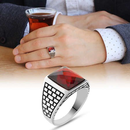 Kırmızı Zirkon Taşlı 925 Ayar Gümüş Kaledar Yüzüğü - Thumbnail