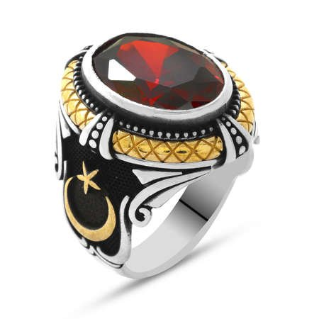 Kırmızı Zirkon Taşlı Ayyıldız Tasarım 925 Ayar Gümüş Kaptan-ı Derya Yüzüğü - Thumbnail