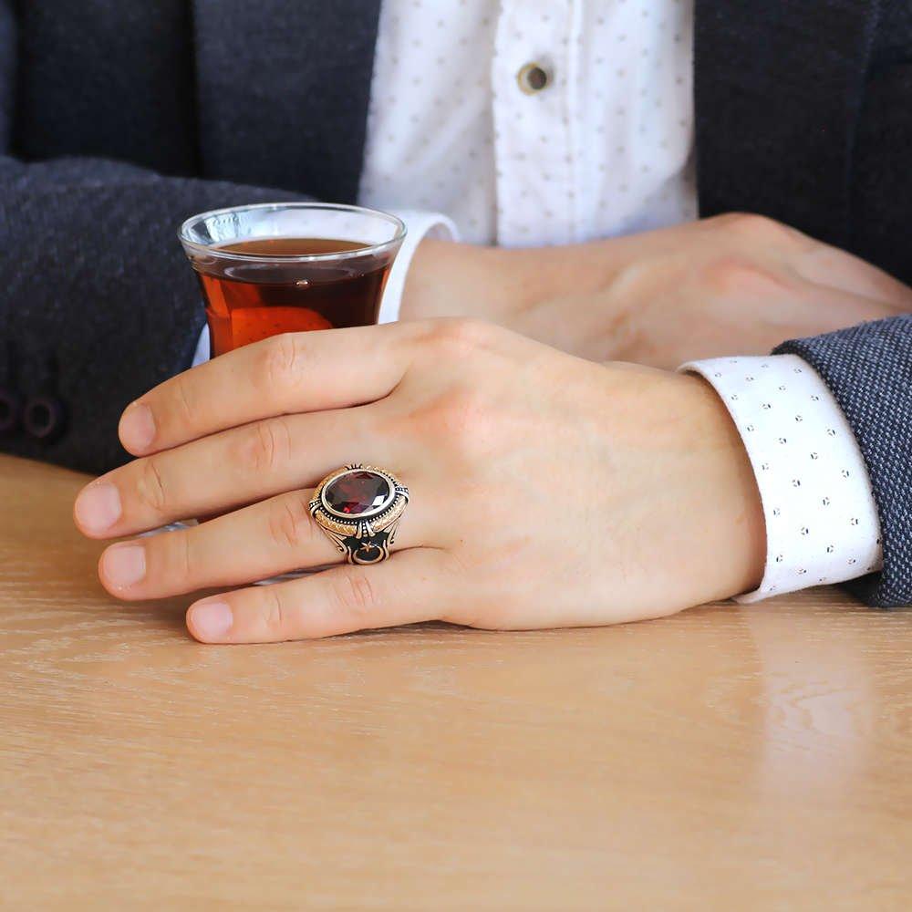 Kırmızı Zirkon Taşlı Ayyıldız Tasarım 925 Ayar Gümüş Kaptan-ı Derya Yüzüğü
