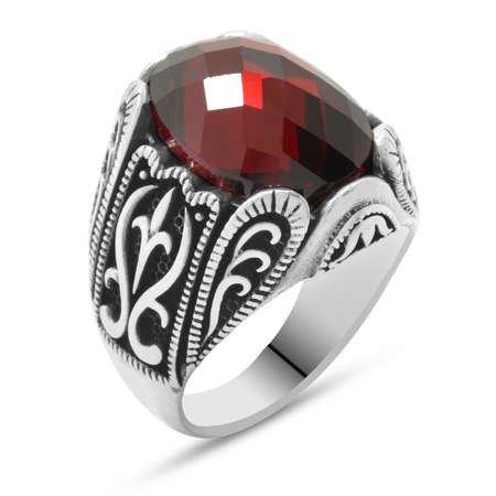 Kırmızı Zirkon Taşlı Ferforje Tasarım 925 Ayar Gümüş Erkek Yüzük - Thumbnail