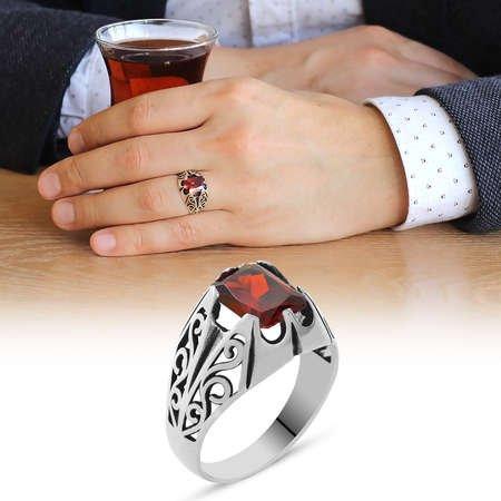 Kırmızı Zirkon Taşlı Minimal Tasarım 925 Ayar Gümüş Erkek Yüzük - Thumbnail