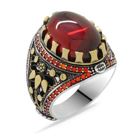 Kırmızı Zirkon Taşlı Oval Tasarım 925 Ayar Gümüş Erkek Yüzük - Thumbnail