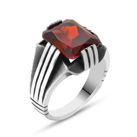 Kırmızı Zirkon Taşlı Zarif Tasarım 925 Ayar Gümüş Erkek Yüzük - Thumbnail