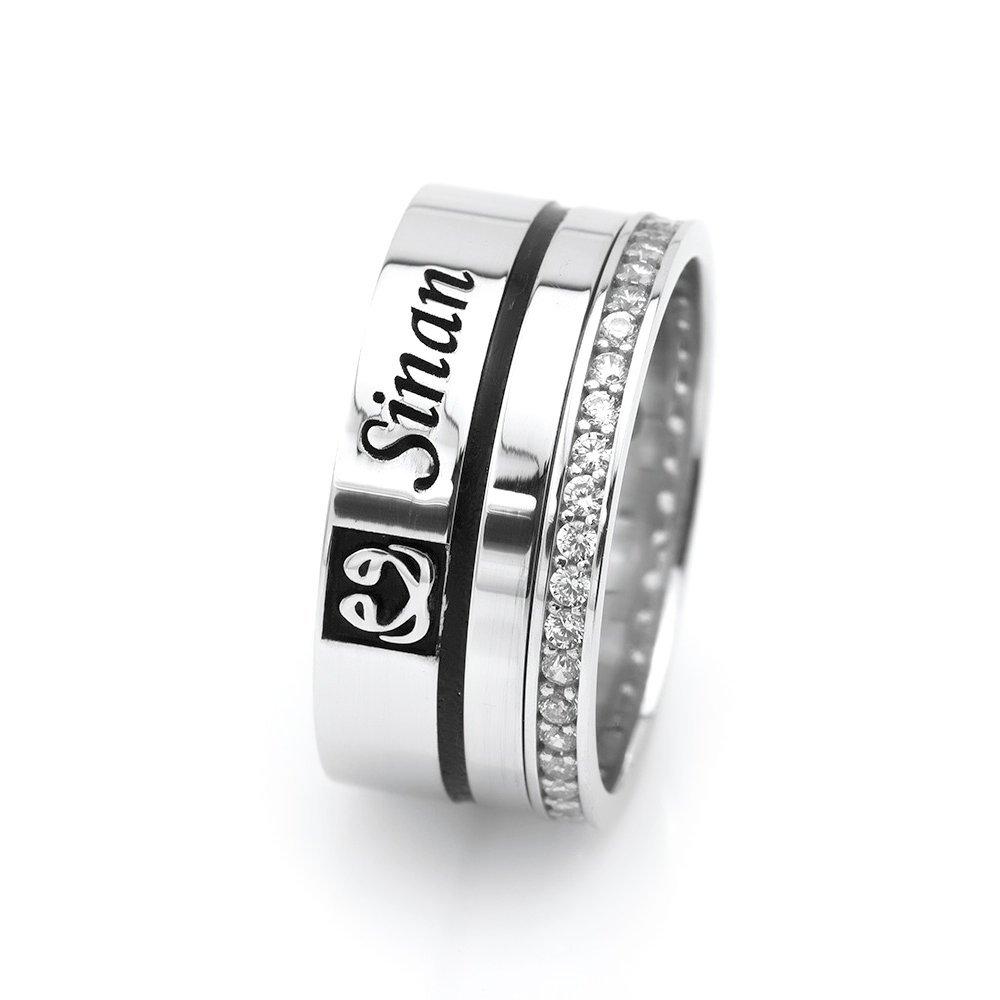 İsim Yazılı Zirkon Taşlı Çift Vav Tasarım 925 Ayar Gümüş Bayan Alyans