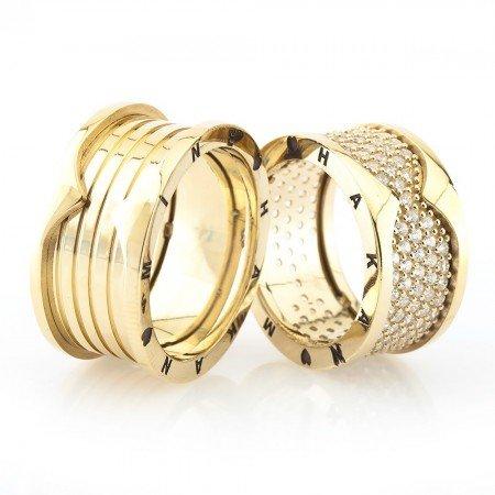 İsim Yazılı Özel Tasarım Gold Renk 925 Ayar Gümüş Çift Alyans - Thumbnail