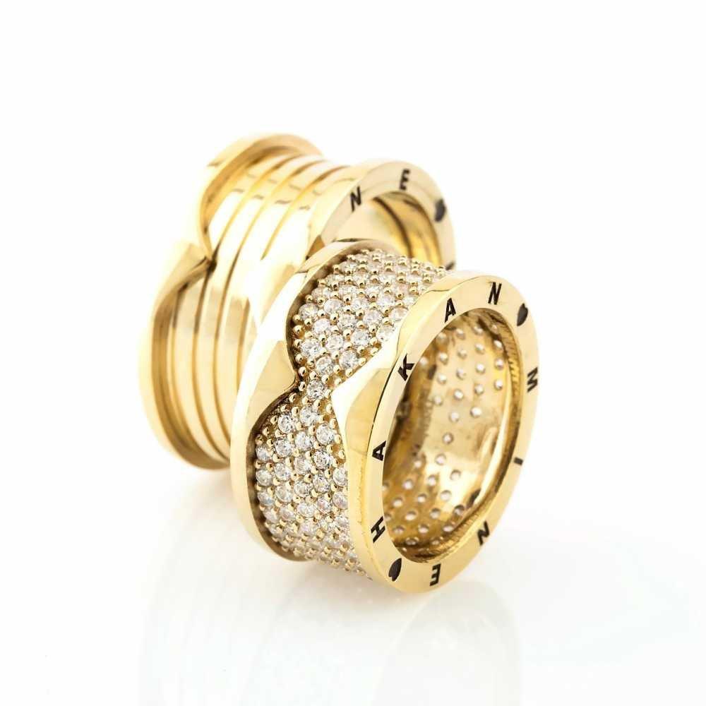 İsim Yazılı Özel Tasarım Gold Renk 925 Ayar Gümüş Çift Alyans