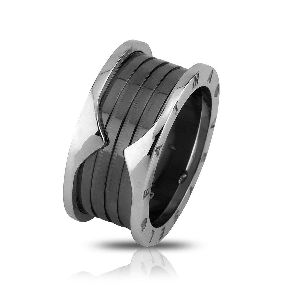 İsim Yazılı Özel Tasarım Gri-Siyah 925 Ayar Gümüş Erkek Alyans