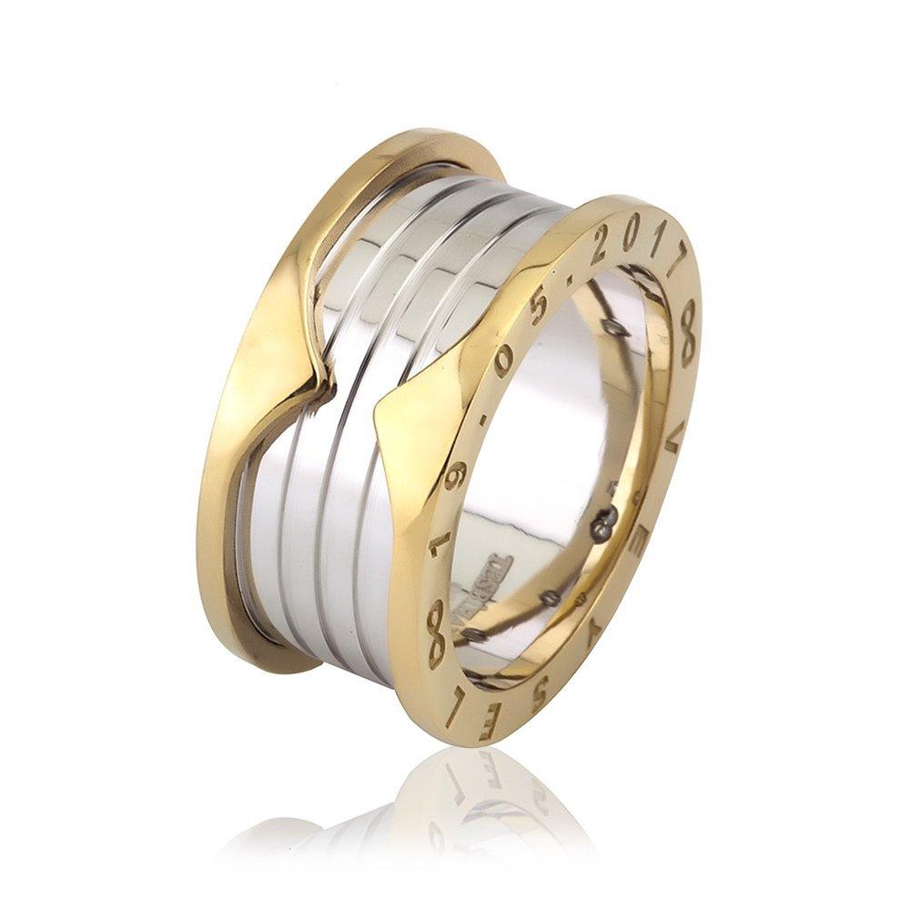 İsim Yazılı Özel Tasarım Gold-Beyaz 925 Ayar Gümüş Erkek Alyans