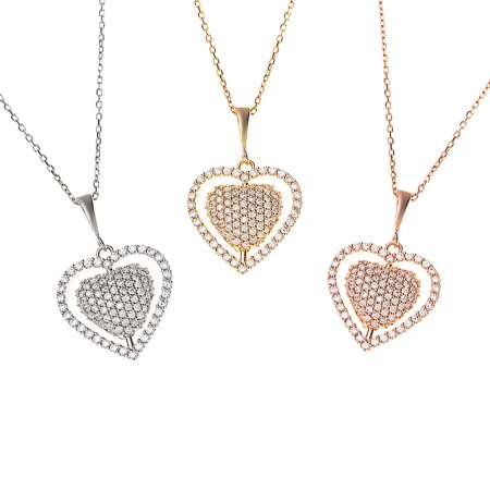 Çift Kalp Tasarım Kişiye Özel İsim Yazılı 925 Ayar Gümüş Bayan Kolye - Thumbnail