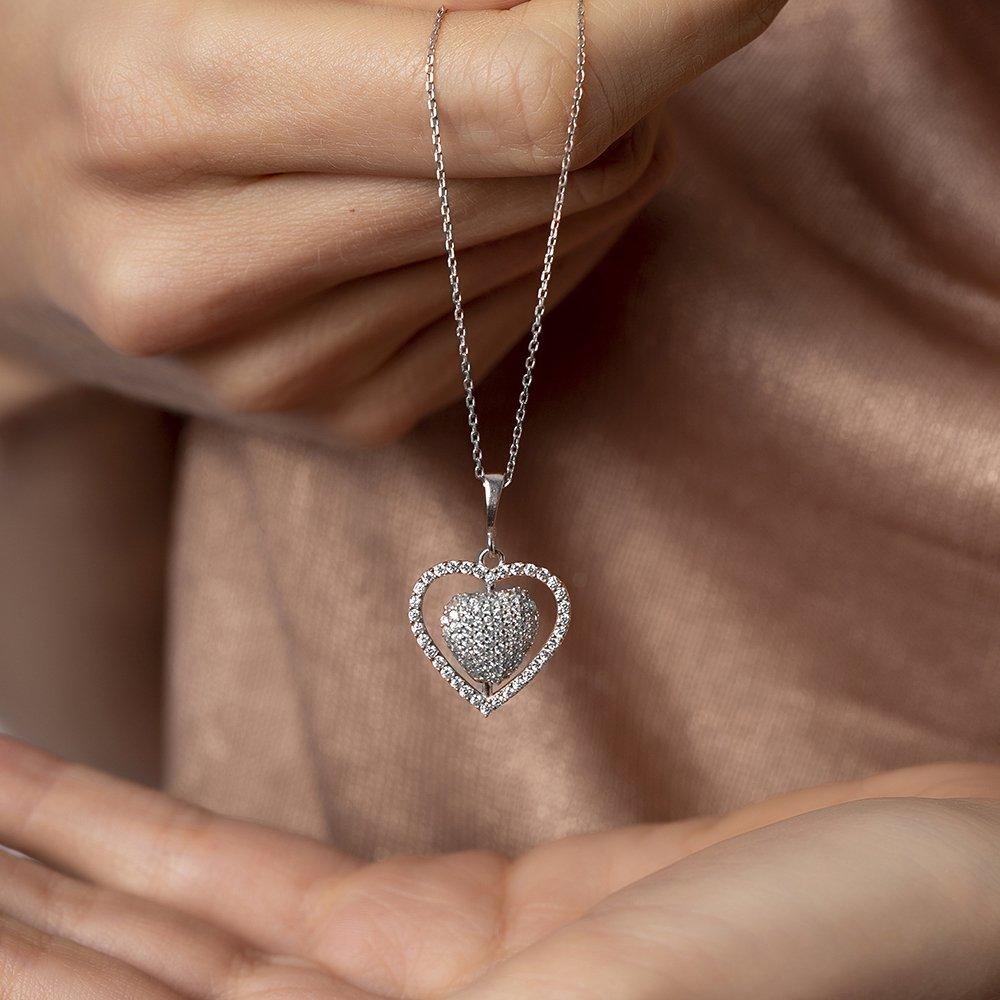 Çift Kalp Tasarım Kişiye Özel İsim Yazılı 925 Ayar Gümüş Bayan Kolye
