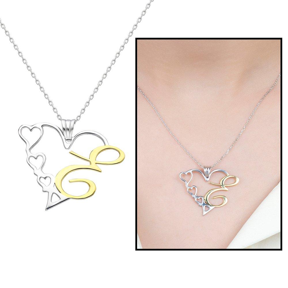 Kişiye Özel Harf Yazılı 925 Ayar Gümüş Bayan Kalp Kolye